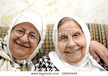 Two elderly woman - mother and daughter