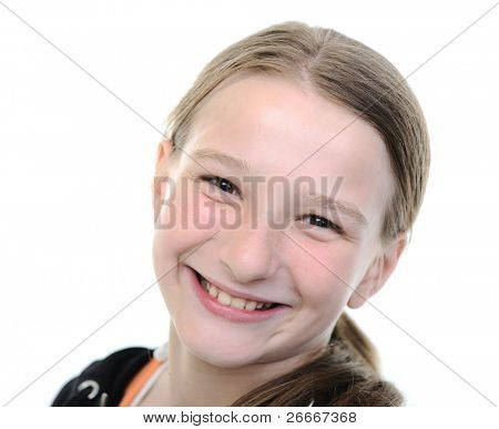 Cute blond school girl portrait, smiling, ten 10 years old