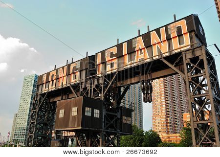 """Modern pier with """"Long Island"""" painted on it in Gantry Plaza State Park Queens, New York."""