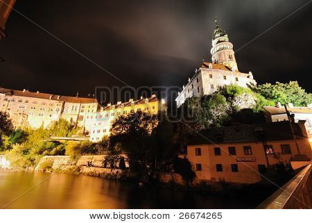 Krumlov Castle at night in Cesky Krumlov, Czech Republic.