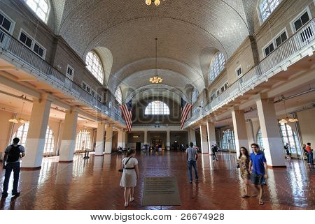 NEW YORK CITY - SEPTEMBER 11: The historic Registry Room on Ellis Island, where millions of the nation's immigrants were processed September 11, 2010 in New York, New York.
