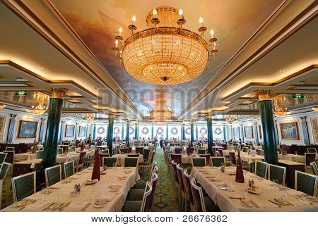 An elegant Russian inspired dining hall.