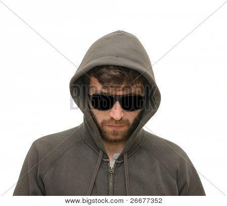 Mysertious man in hood and dark shades