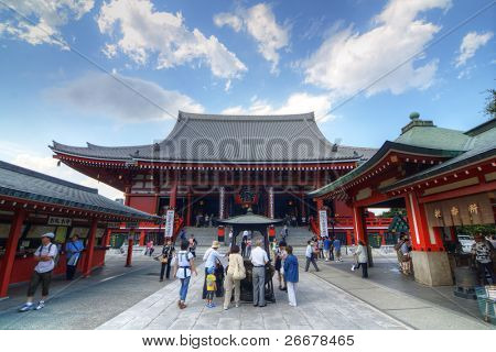 TOKYO, JAPAN - JULY 6: The Buddhist Temple Senso-ji is the symbol of Asakusa and one of the most famed temples in all of Japan attracting thousands of tourists daily on July 6, 2011 in Tokyo, Japan.