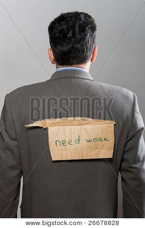 Man With Cardboard Sign Need Work