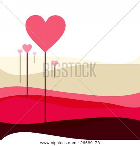 seamless background with heart shape tree