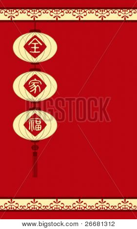 Traditional Chinese lanterns with chinese character for