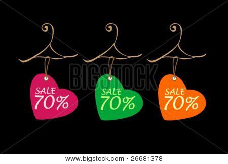 vector cute promotion tags design for valentine's discount
