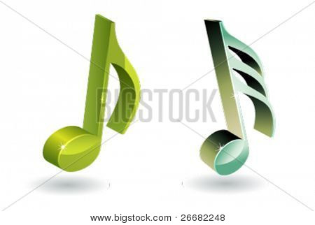 3D music note symbol set