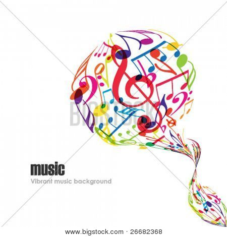 Abstract music background with tunes on white