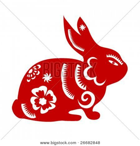 Papercut of 2011 Rabbit Lunar year symbol - Spring festival