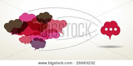 connected cloud speech bubbles