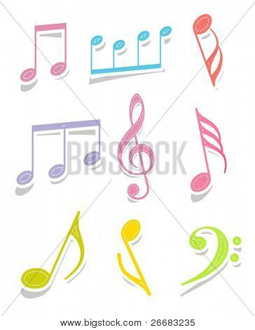 Set of music note labels
