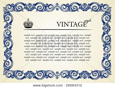 Vintage frame ornament. Vector illustration