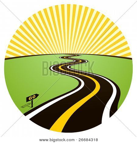 Road to solar horizon. Vector illustration
