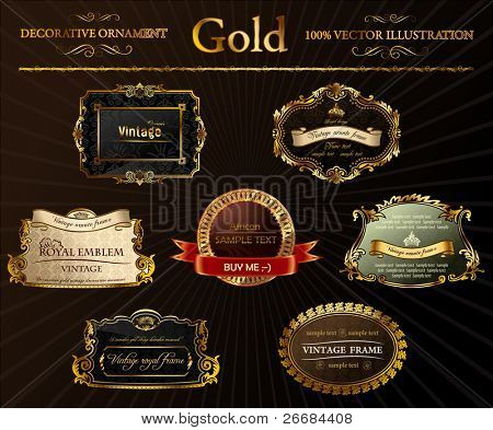 Vector vintage set. Gold frames decorative label illustration