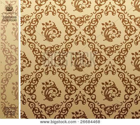 seamless vintage background Pattern brown. Vector illustration