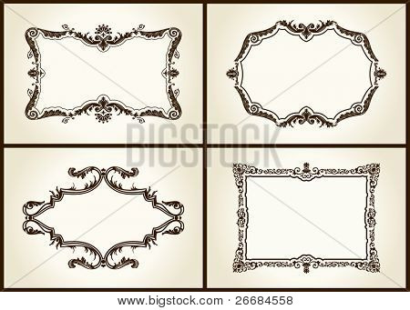 Vector vintage design retro frames ornament label isolated