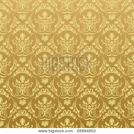 Seamless wallpaper background floral vintage gold vector