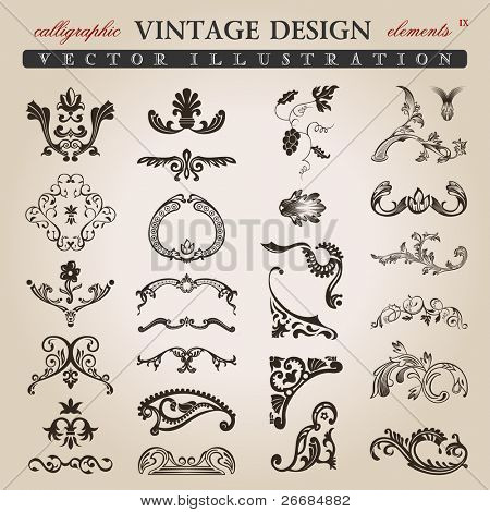 flower calligraphic vintage royal design elements. Vector illustration
