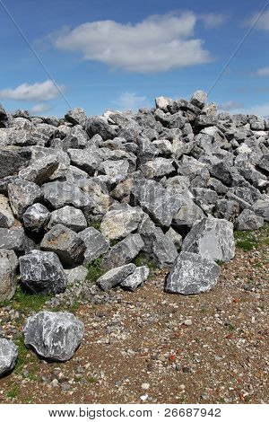 bunch basalt rocks ready for use for the strengthening of the dikes in Holland