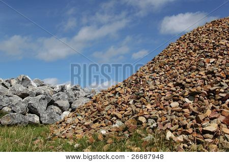 bunch basalt rocks and gravel ready for use for the strengthening of the dikes in Holland