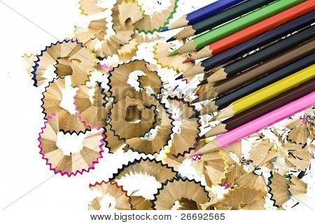 colorful pencils and   shavings
