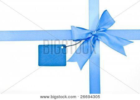 Arco de la cinta, azul con tarjeta