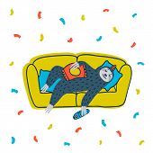 Animal Party. Lazy Sloth Party. Cute Sloth Lying On The Couch With Tv Remote. Vector Illustration. poster