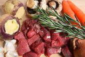 picture of rutabaga  - The ingredients for making a traditional British beef stew a common home - JPG