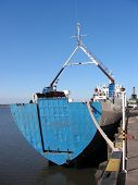 Cargo carrier in dock. Paraguay river, Asuncion