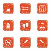 Chemical Training Icons Set. Grunge Set Of 9 Chemical Training Icons For Web Isolated On White Backg poster