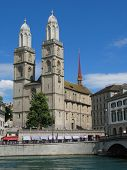 Double headed Grossmuenster church - symbol of Zurich