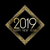 2019 Happy New Year Card, Gold Confetti Shimmer. 2019 Holiday Card, Banner Or Party Poster Design Wi poster