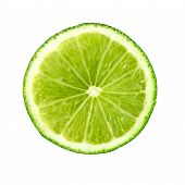 Lime. Juicy Slice Of Lime. Lime Slice Isolated On White. Ripe Green Lime Citrus Fruit. poster