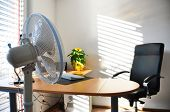 stock photo of louvers  - Fan in the office - JPG