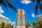 Miami, High Residential Buildings, Hotel Or Houses In South Beach Sunny Summer Outdoor Green Grass,  poster
