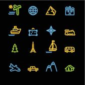 Neon Travel Icons poster