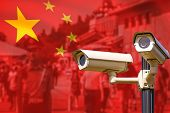 Smart Surveillance Cctv Cameras, Spies People, Track Identify, No Privacy Concept, In China. poster