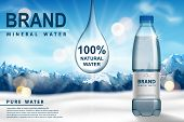 Mineral Water Ad, Plastic Bottle With Pure Mineral Liquid On Snow With Mountain Background. Transpar poster