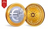 Cardano. Euro Coin. 3d Isometric Physical Coins. Digital Currency. Cryptocurrency. Golden Coins With poster