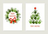 Handprint Christmas Tree With Red Star. Handprint Christmas Wreath With Red Bow. Christmas Hand Prin poster