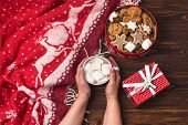 Christmas Hot Drink Female Hand Holding Cup Of Hot Tasty Cocoa With Marshmallow Red Christmas Blanke poster