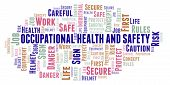 Occupational Health And Safety Word Cloud. Word Cloud Made With Text Only. poster