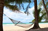 stock photo of summer beach  - Relaxation on beautiful tropical beach - JPG