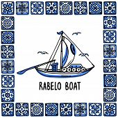 Portugal Landmarks Set. Rabelo Boat, Wine Boat. Traditional Porto Boat In Frame Of Portuguese Tiles, poster