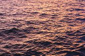 Dark Water Surface On Sunset. River Or Sea Water Beautiful Pattern Flare With Small Waves On Evening poster