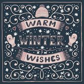 Vector Colorful Winter Card With Warm Winter Wishes Text, Snow, Hat, Mittens And Scarf. Christmas Gr poster
