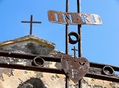 stock photo of inri  - Maletto iron crosses rusty of the monk passionisti and their christian symbol with acronym  - JPG