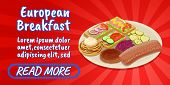 European Breakfast Concept Banner. Isometric Banner Of European Breakfast Comics Vector Concept For  poster